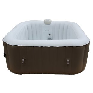 ALEKO Square Portable Hot Tub 4-Person 130-Jet Inflatable Plug and Play Spa