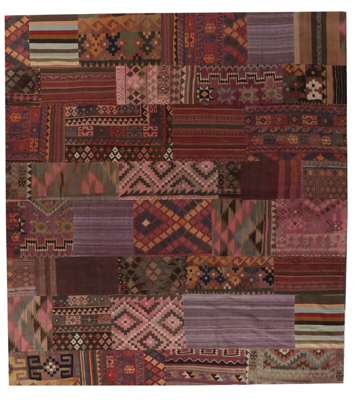 caracella handgewebter teppich kilim patchwork in rot braun. Black Bedroom Furniture Sets. Home Design Ideas