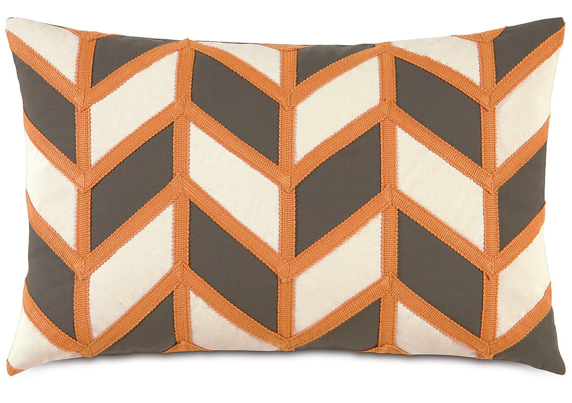 Chevron Lumbar Pillow - Shop Drew's Honeymoon House {Jonathan's Guest Suite} #geometricpillow #trapezoid #PropertyBrothers