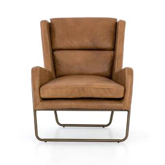17 Stories Alldredge 43 W Tufted Top Grain Leather Club Chair Wayfair