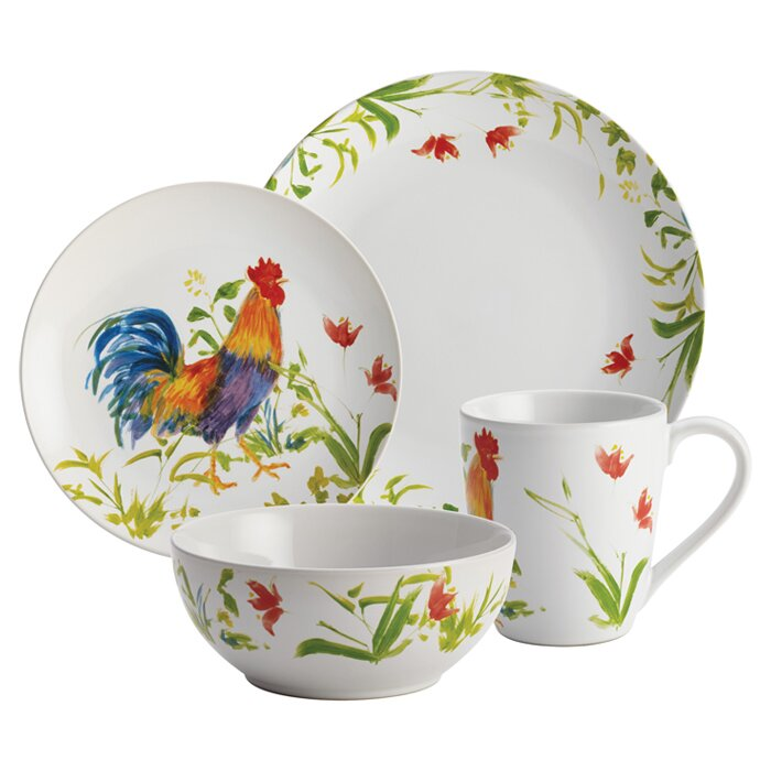 Rooster 16 Piece Dinnerware Set Service for 4  sc 1 st  Wayfair & BonJour Rooster 16 Piece Dinnerware Set Service for 4 \u0026 Reviews ...