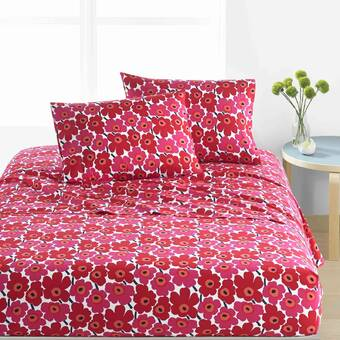 Pikkuinen Unikko 200 Thread Count Floral 100 Cotton Sheet Set Reviews Allmodern