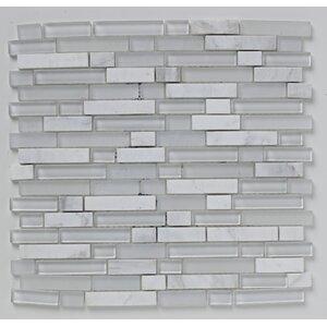 Linear 30.5cm x 30.5cm Glass Mosaic Tile in White