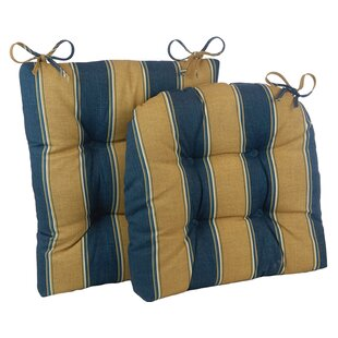 2 Piece Stripe Porch Indoor/Outdoor Rocking Chair Cushion Set
