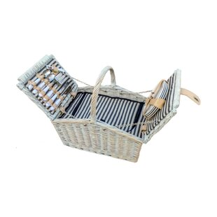 4 Person Fitted Club Stripe Picnic Basket By Beachcrest Home