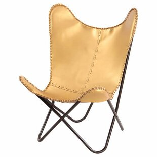 Fashion N You by Horizon Interseas Gold Leather Butterfly Lounge Chair