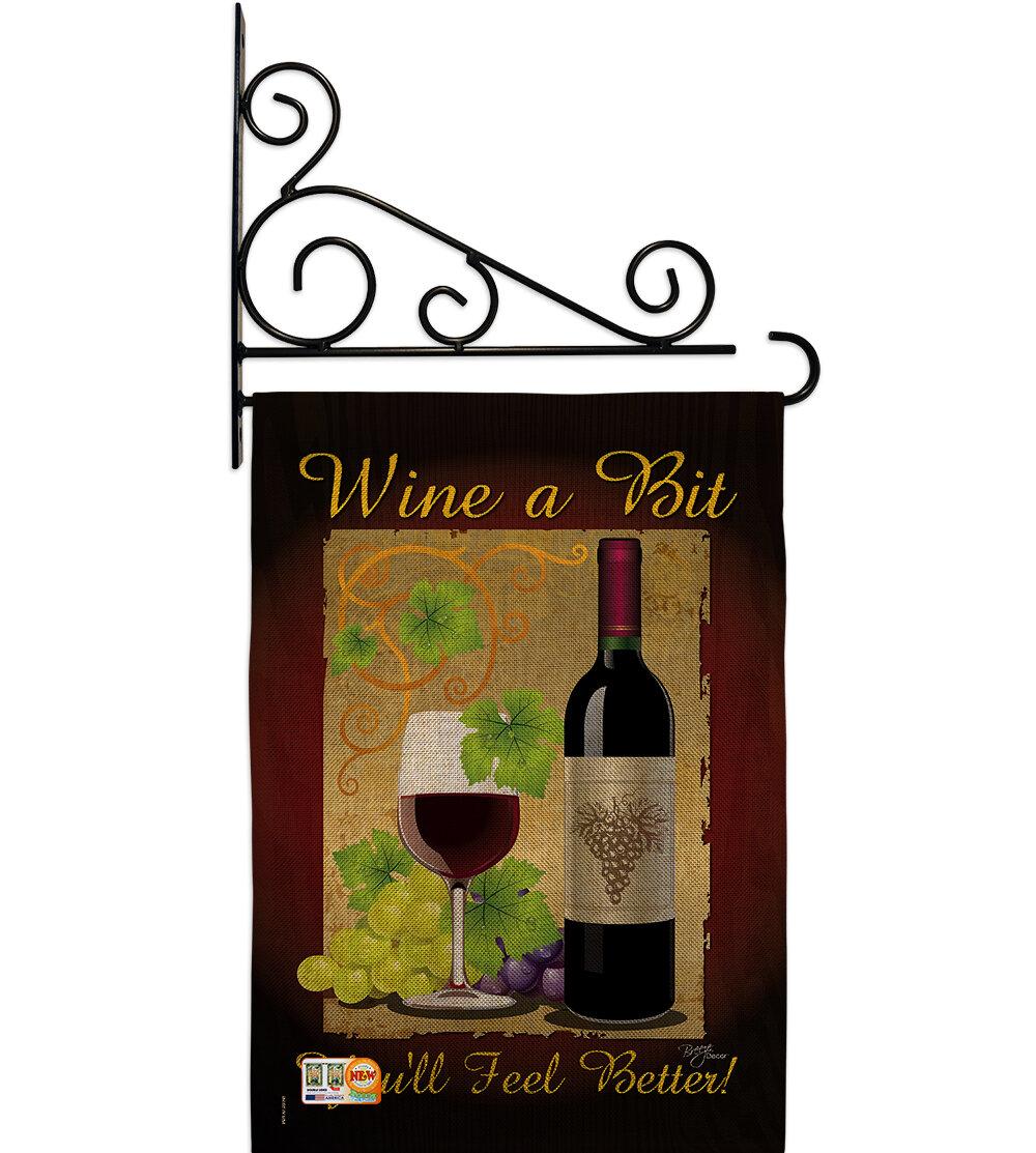 Breeze Decor Wine A Bit Happy Hour And Drinks 2 Sided Burlap 19 X 13 In Garden Flag Wayfair