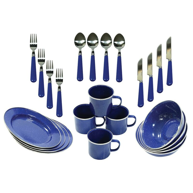 Enamel Camping 24 Piece Dinnerware Set Service For 4