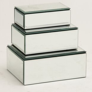 Best Reviews 3 Piece Rectangle Wood/Mirror Jewelry Box Set ByWilla Arlo Interiors
