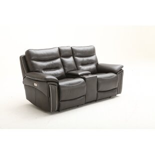 City Lights Leather Reclining Loveseat