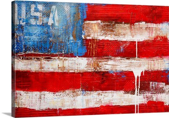 'USA' by Erin Ashley Painting Print on Canvas