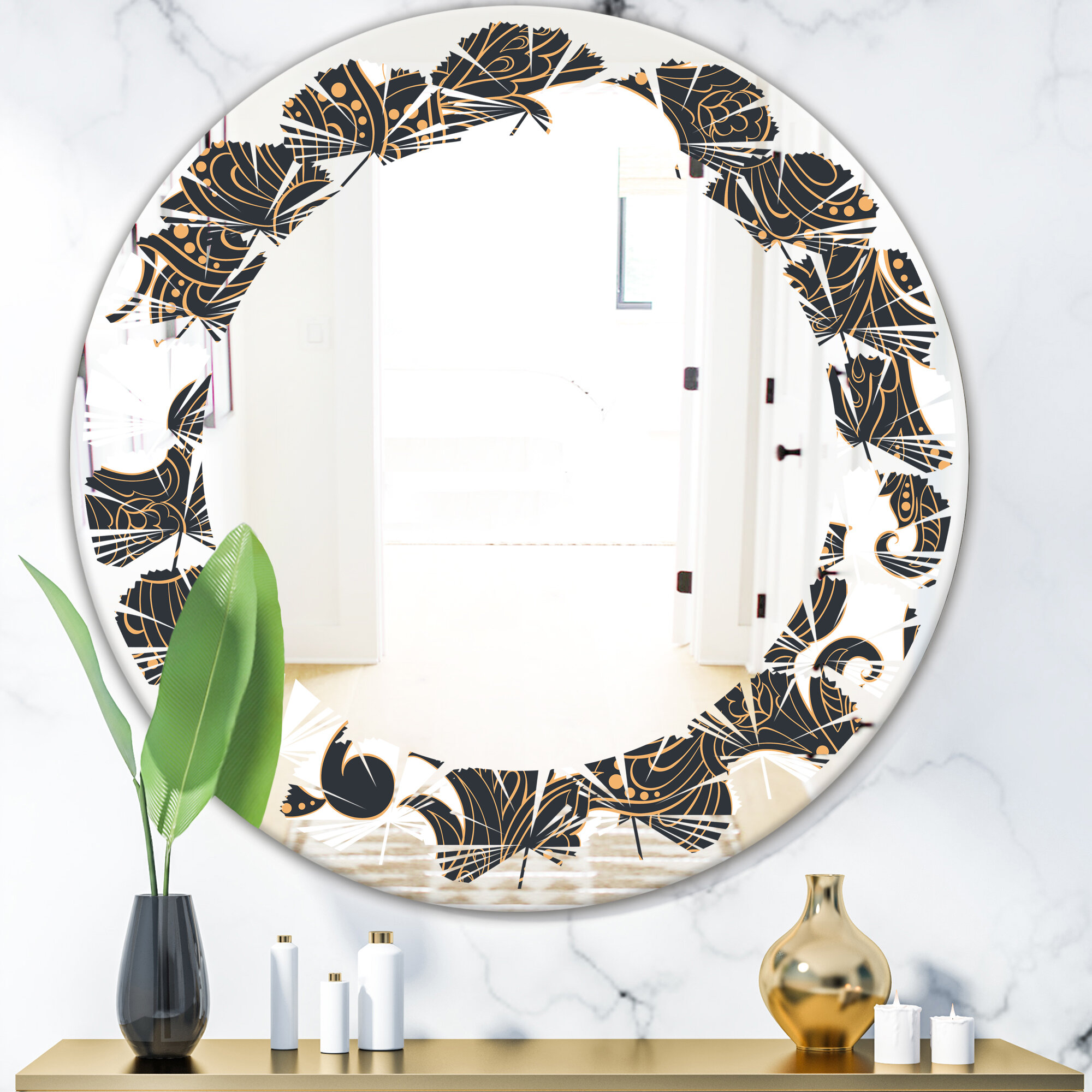 East Urban Home Leaves Indian Floral Batik I Traditional Frameless Wall Mirror Wayfair