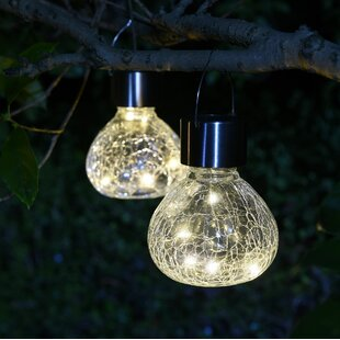 Crackle Mini Jar Solar 2 Piece LED Landscape Lighting Set