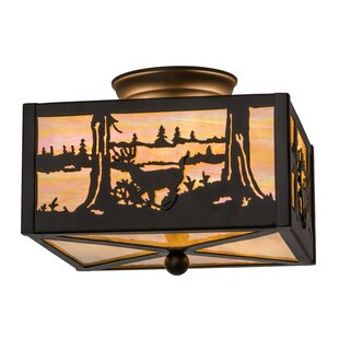 Meyda Tiffany Deer at Lake 2-Light Flush Mount