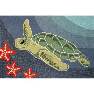 Zilla Blue Ocean Sea Turtle Indoor/Outdoor Area Rug