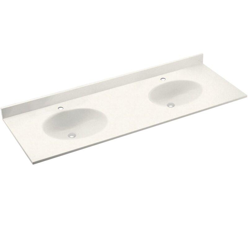 Swan Ellipse Solid Surface 61 Double Bathroom Vanity Top Wayfair