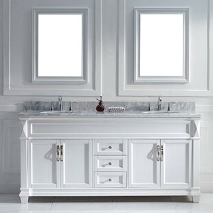 Kace 72 Double Bathroom Vanity Set With White Marble Top And Mirror