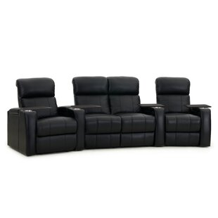 Home Theater Curved Row Seating with Chaise Footrest (Row of 4)