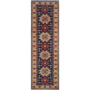 Bulkley Kazak Hand Knotted Wool Blue Area Rug