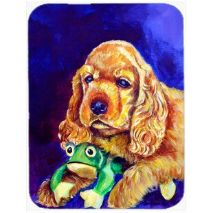 Cocker Spaniel with Frog Glass Cutting Board
