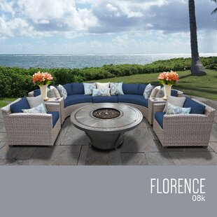 TK Classics Florence 8 Piece Rattan Sectional Set with Cushions