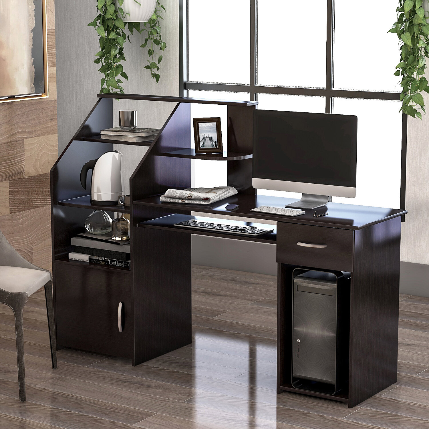 Image of: Foldable Writing Computer Desk 32 Small Lazy Modern Laptop Table 3 Steps Quickily Assembly Folding Desk For Home Office Use With Storage Organizer Shelf Home Office Desks Home Kitchen