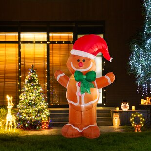 light gingerbread man dcor inflatable