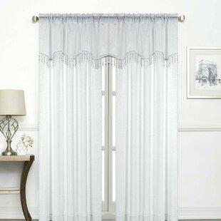 Ramsay Ultra Luxurious Semi-Matte Beaded Solid Semi-Sheer Rod Pocket Curtain Panels (Set of 2) by House of Hampton