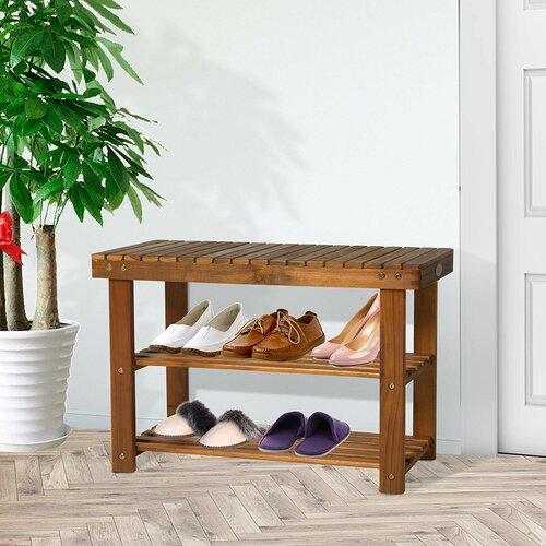 Schuhregal für 12 Paar Schuhe | Flur & Diele > Schuhschränke und Kommoden | Akazienholz | Haus am Meer