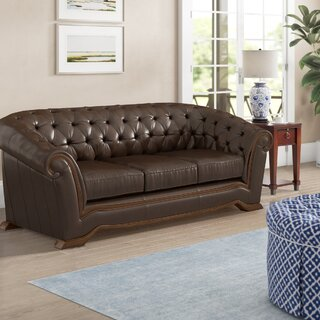 "Barkell Leather 91"" Rolled Arms Sofa by Canora Grey SKU:CE405567 Check Price"