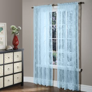Bretton Nature/Floral Sheer Rod Pocket Single Curtain Panel