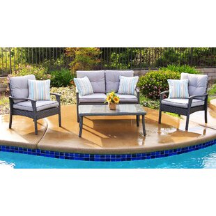 Grazia 4 Piece Deep Seating Group with Cushion by World Menagerie