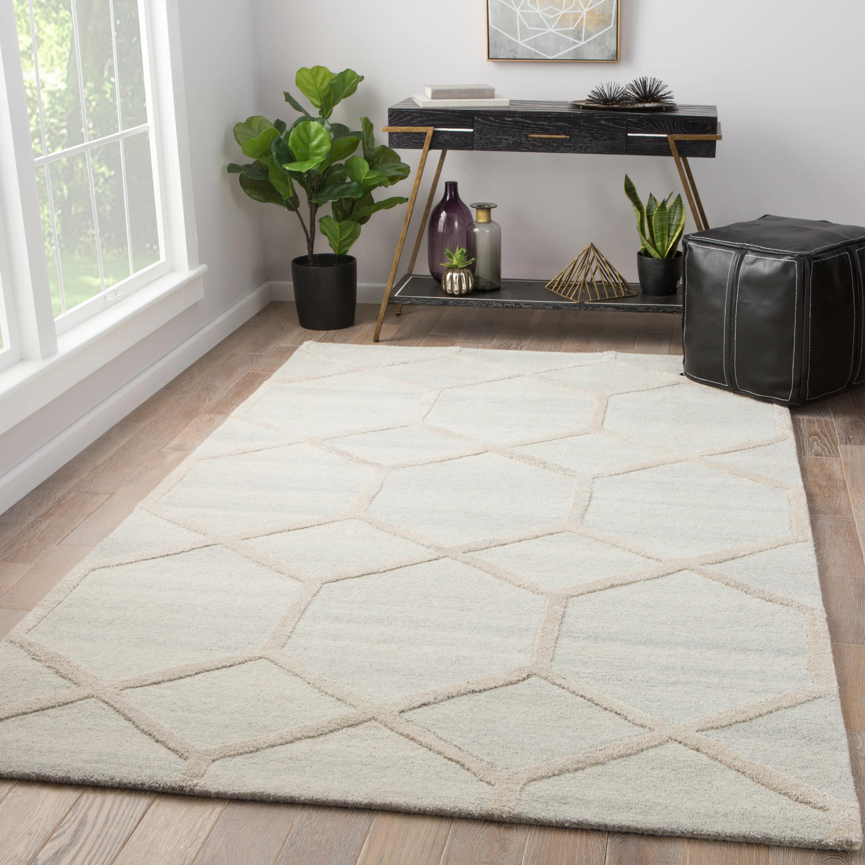 Wrought Studio Geometric Handmade Tufted Wool Beige Area Rug Wayfair