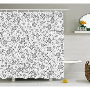 Mix Florals with Rotary Round Rings and Dot Spots on the Backdrop Simplistic Blossom Shower Curtain Set