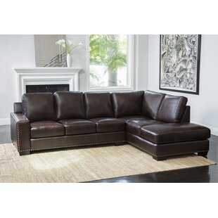 Shopping for Mccaffrey Leather Sectional By Three Posts