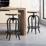 SantaMarina Reclaimed Adjustable Height Swivel Bar Stool (Set of 2) by Breakwater Bay