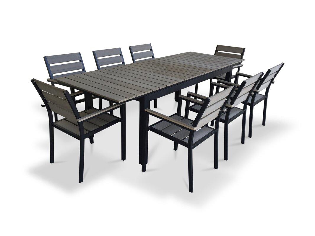 Lilyanna 9 Piece Extendable Outdoor Dining Set