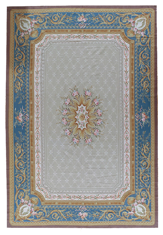 Pasargad Aubusson Hand Woven Wool Gray Blue Brown Area Rug Wayfair
