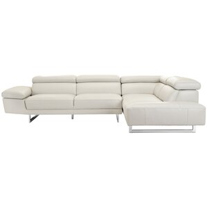 Ann Leather Reclining Sectional by Orren Ellis