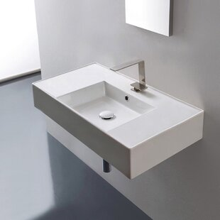 Ceramic 32 Wall Mounted Bathroom Sink with Overflow By Scarabeo by Nameeks