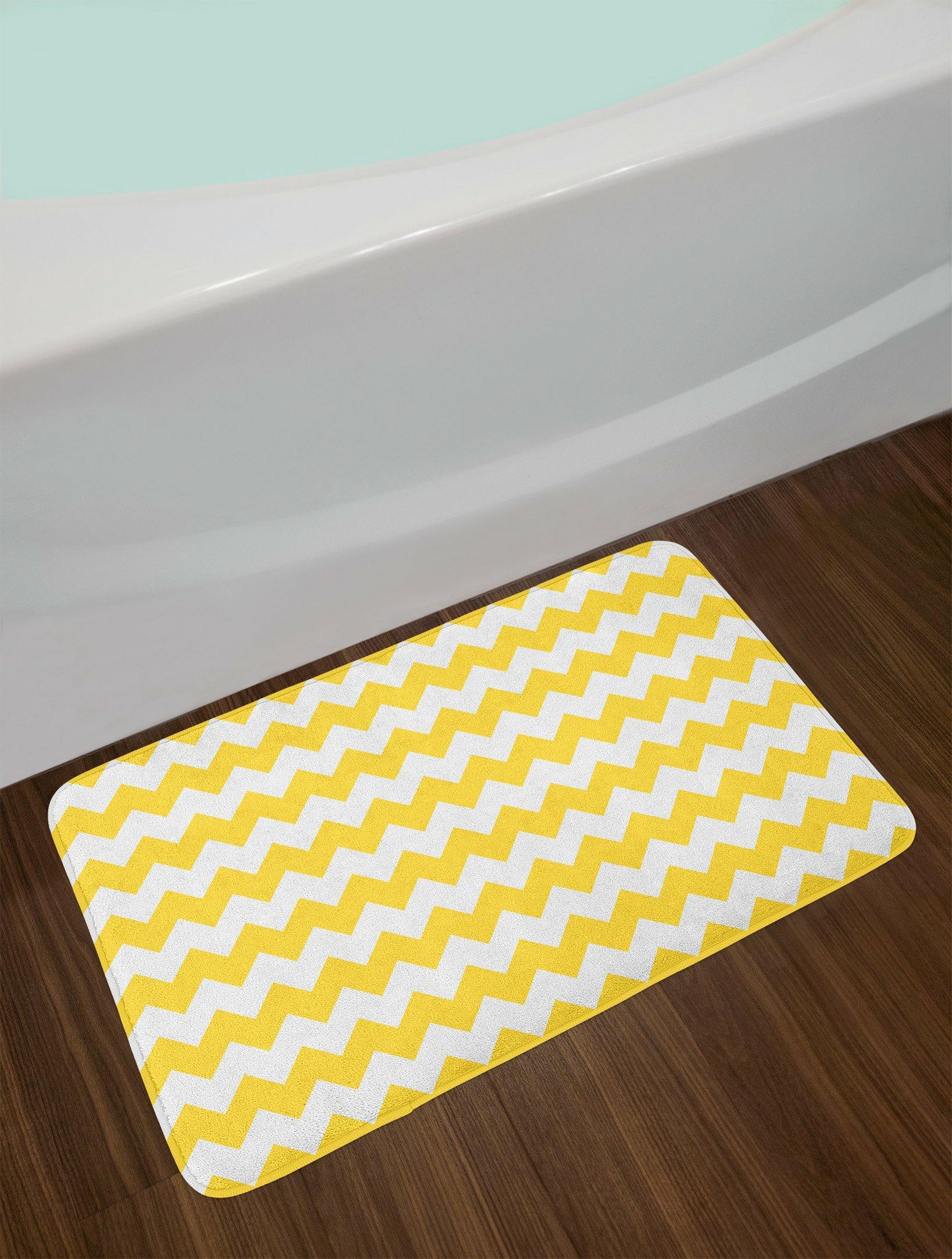 Yellow White Chevron Bath Rug
