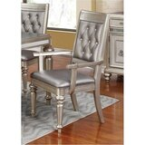 Vedder Tufted Leather Upholstered Arm Chair in Metallic (Set of 2) by Rosdorf Park