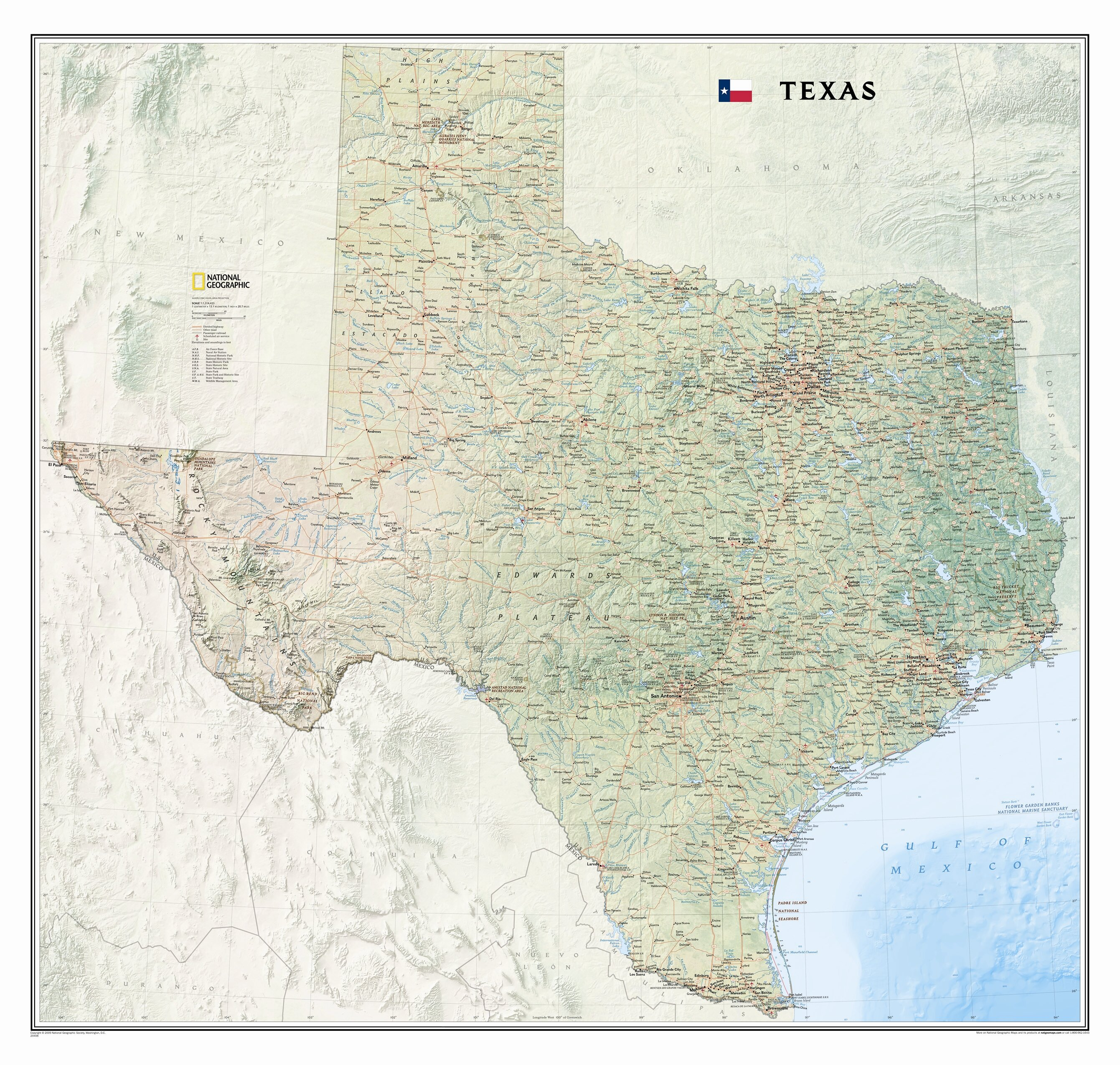 A Map Of The State Of Texas.Texas State Wall Map