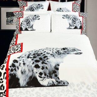 Dolce Mela White Snow Loepard Duvet Cover Set