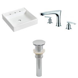 American Imaginations Ceramic Square Bathroom Sink with Faucet