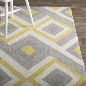 High Quality Stoltenberg Hand Hooked Gray/Yellow Area Rug