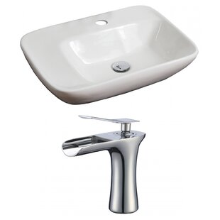 Comparison Ceramic Rectangular Vessel Bathroom Sink with Faucet and Overflow By American Imaginations