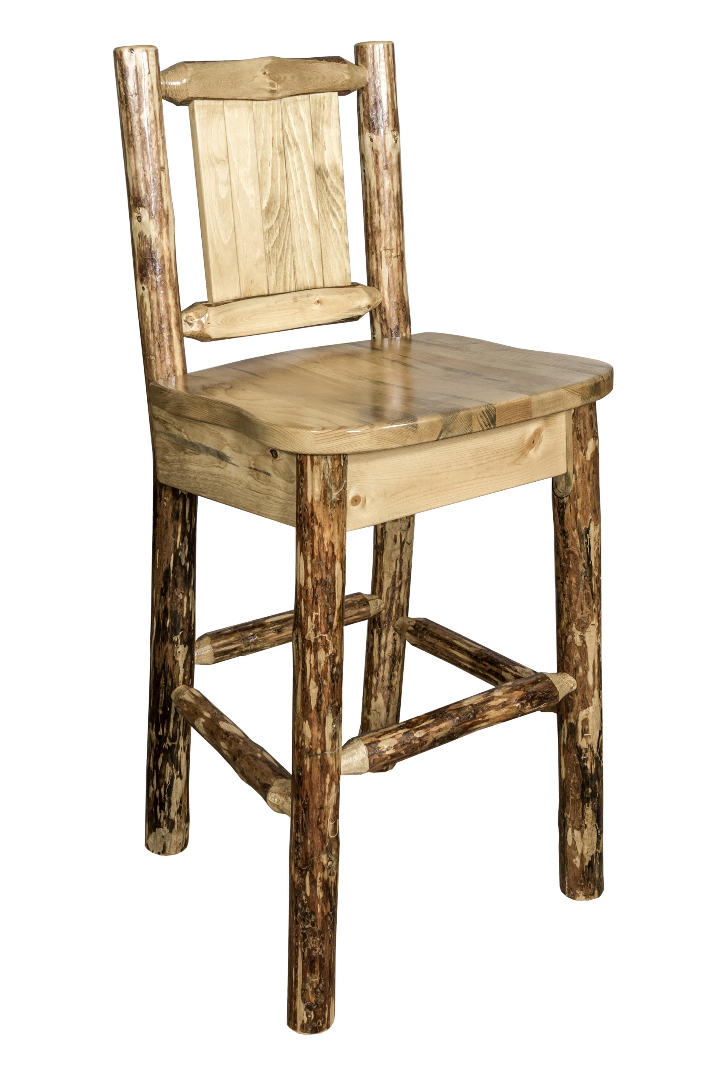 Loon Peak Southborough Rustic 24 Solid Wood Full Back Bar Stool