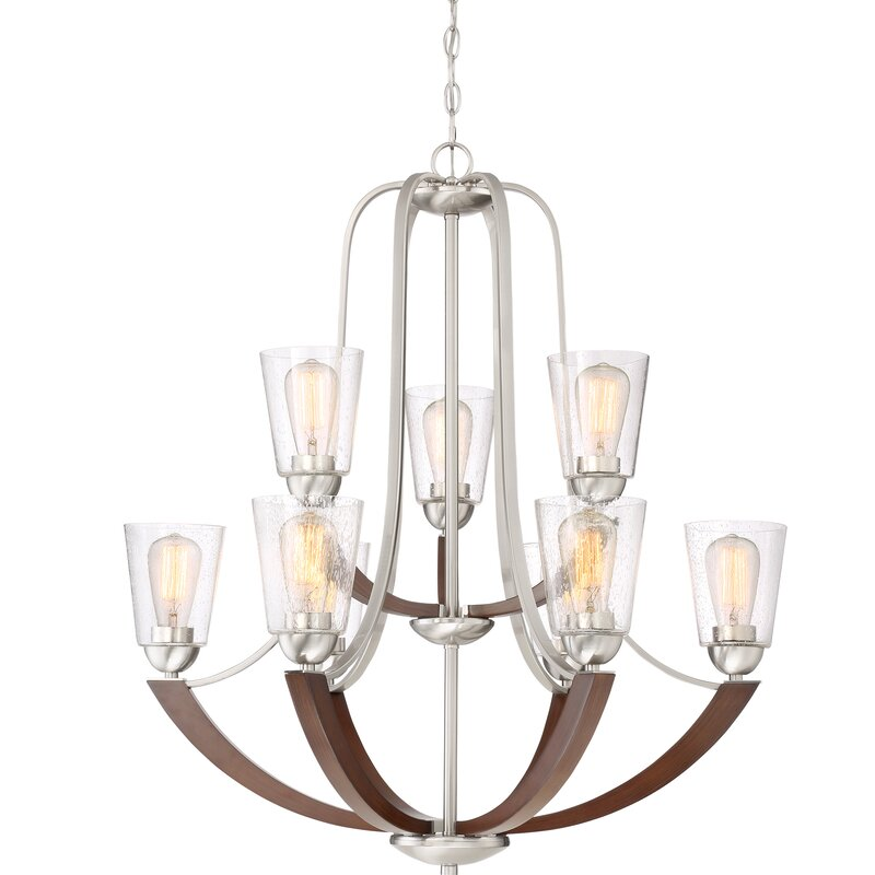 Chryses Brushed Nickel 9 Light Shaded Chandelier