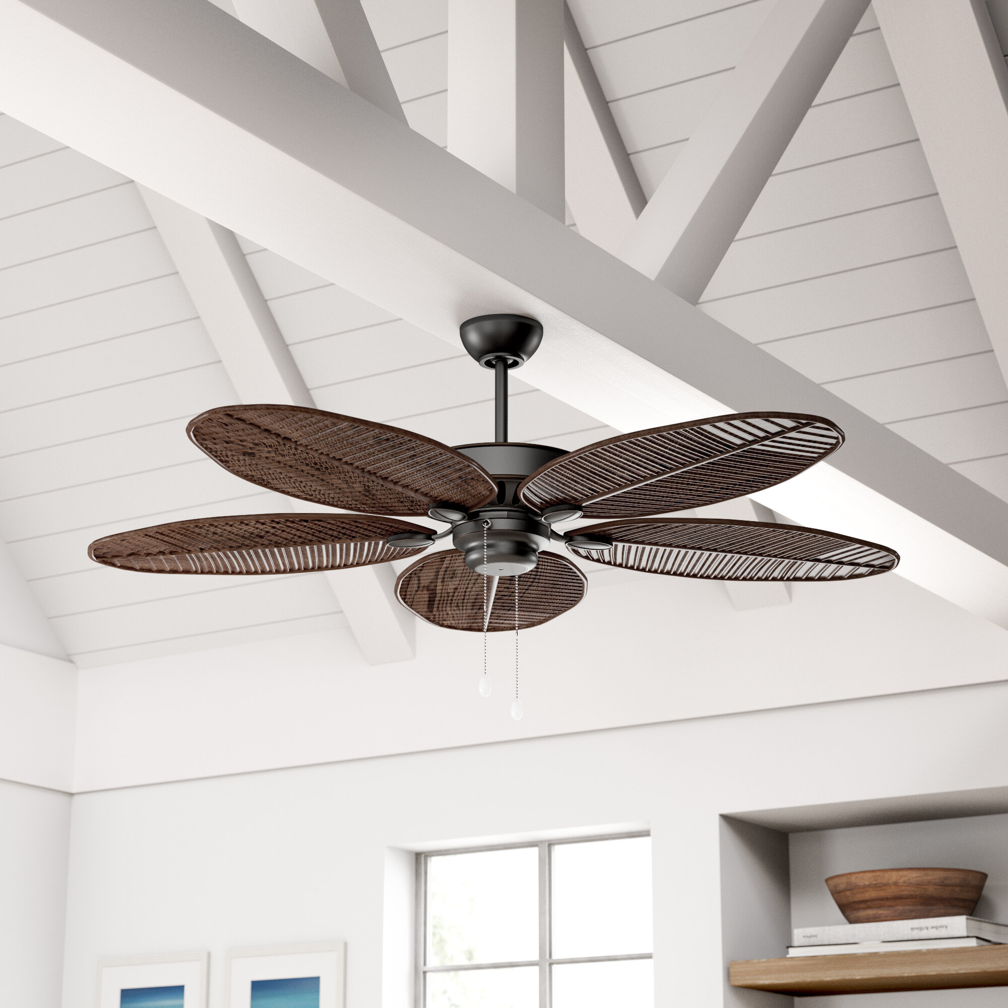 Beachcrest Home 52 Kateri 5 Blade Outdoor Leaf Blade Ceiling Fan With Pull Chain Reviews Wayfair